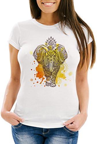Neverless damska koszulka mandala słoń słoń boho etno Slim Fit: Odzież