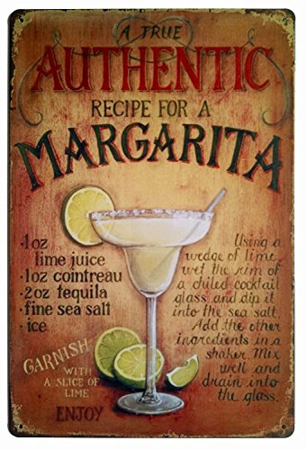 Erlood A True Authentic Recipe for a Margarita Tin Sign Wall Retro Metal Bar