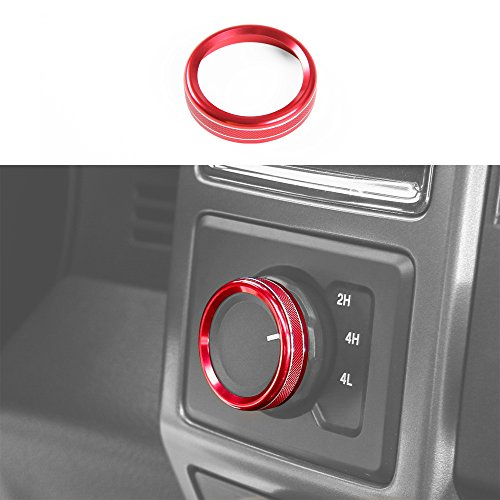 Voodonala Aluminum Alloy Inner Accessories 4WD Switch Cover Button Ring Knob Trim for Ford F150 XLT 2016 2017(Red)