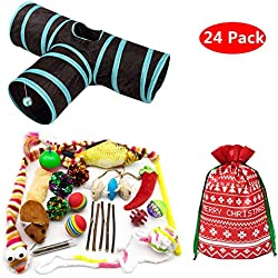 PetFavorites 24 Cat Toys Kitten Catnip Toys Variety Pack - 3 Way Tunnel, Interactive Wand, Fish, Mouse, Crinkle Balls, Kitty Chew Toys, Feather - Best Gift Set for Christmas Birthday