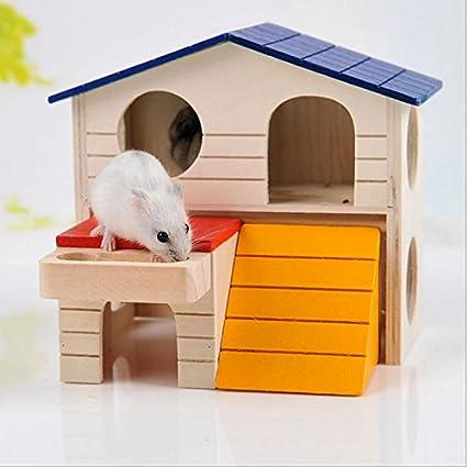 XIAOCONG Jaula para Mascotahamster para Mascotas Casa De Madera Jaula De Doble Capa Villa Plegable para Loro Hurón Conejo Ardilla Conejillo De Indias