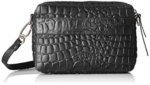 Croco Embossed Leather (Liebeskind Berlin Women's Village Croco Embossed Leather Crossbody, Oil Black)