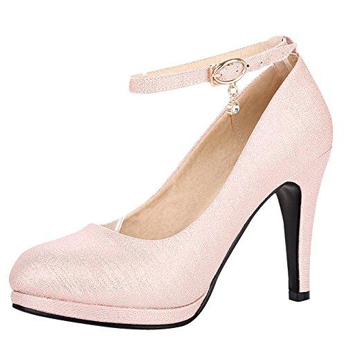 Show Women's Pink Ankle Dress Shine Shoes Platform Heel Buckles High rHwrq1a