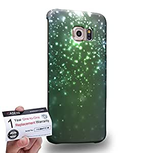Case88 [Samsung Galaxy S6 Edge] 3D impresa Carcasa/Funda dura para & Tarjeta de garantía - Art Fashion Emerald Green Particle
