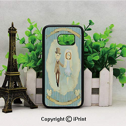 (Vintage Retro Design Bride Groom Pigeons Ribbon Grunge Galaxy S7 Case,Heavy Duty Hybrid TPU Protection Case Cover for Samsung S7 2019 Hard Back Shock Drop Proof Impact Resist Protective Case for Samsu)