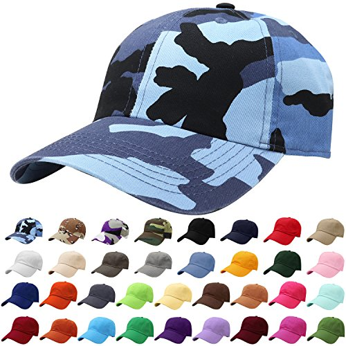 (Falari Baseball Cap Hat 100% Cotton Adjustable Size (Blue Camo))