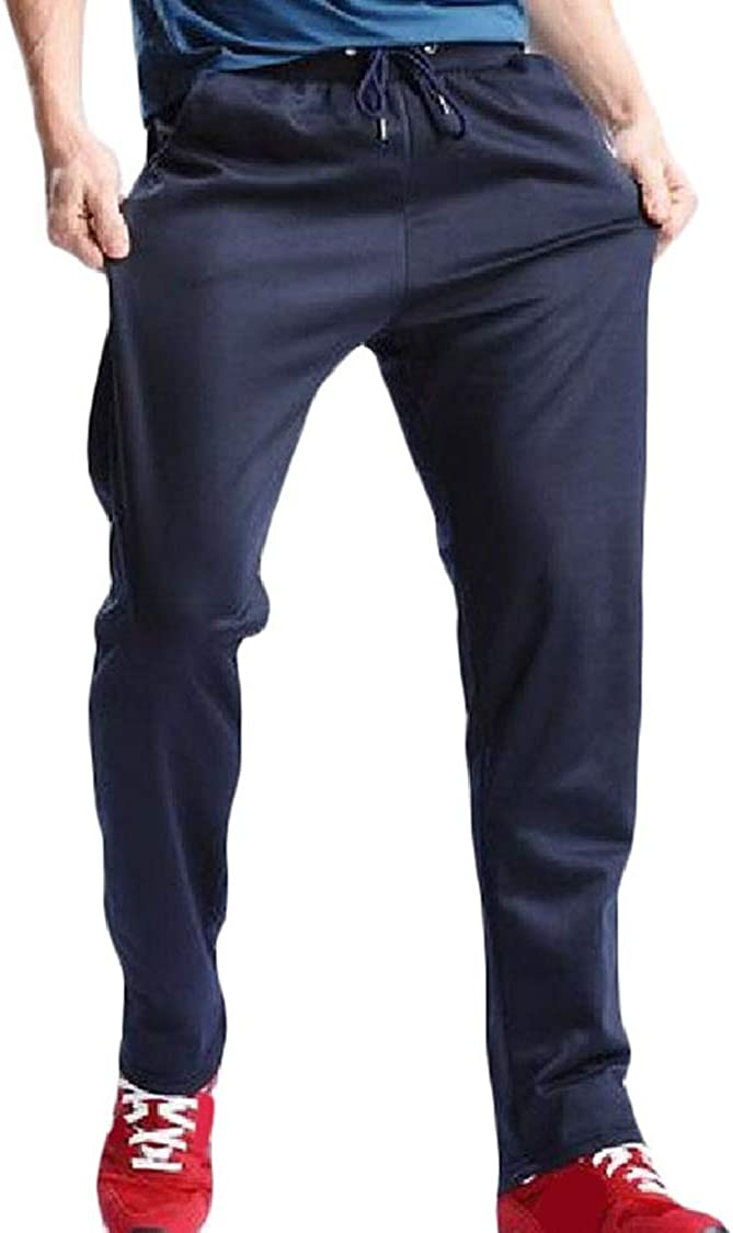 Fieer Mens Velvet Pockets Leisure Elastic Waist Relaxed Jogging Pants