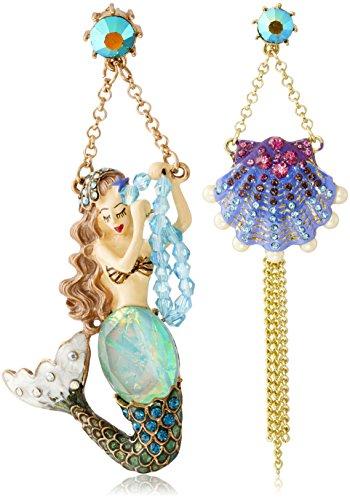 "Betsey Johnson ""Into The Blue"" Mermaid Seashell Mismatch Drop Earrings"