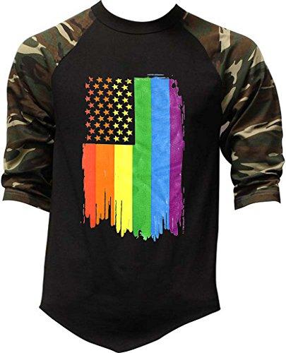 - Men's Rainbow Pride Flag Camo Raglan Baseball T-Shirt 3X-Large Camo