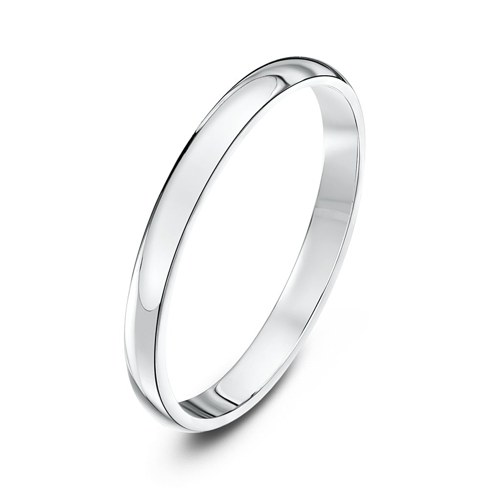 Theia Unisex Heavy D Shape Polished Platinum Wedding Ring 6h0w0