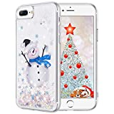 Maxdara Christmas Case for iPhone 6Plus 6sPlus 7Plus 8Plus, Merry Christmas Snowman Pattern Glitter Liquid Bling Sparkle Cute Case for Girls Children Women Gifts Christmas Case (Snowman)