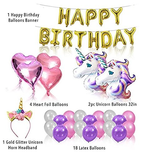 Price comparison product image Unicorn Birthday Party Set Bundle (w / Unicorn Cake Topper & Cake Piping Kit) Unicorn Party Supplies - This magical unicorn gift and unicorn decoration set will make your kid's birthday party the BEST!