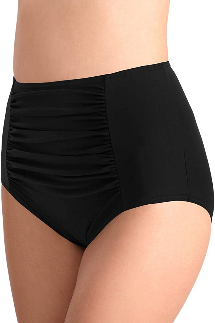 FEOYA Badeanzug Badehose Damen Hipster Bikini-Hose mit Raffungen Unifarben Bikinihose High Waist Ruched Tankinihose Hoch Geschnitten Badeshorts Bikinislip Bauch Weg