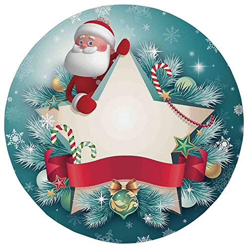 Joy Carpets Ribbons - Round Rug Mat Carpet,Christmas Decorations,Santa Star Banner Snowflakes Ribbon and Candy Cane Tree Winter Theme,Red White,Flannel Microfiber Non-slip Soft Absorbent,for Kitchen Floor Bathroom