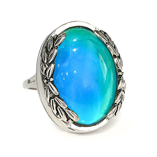 Oval Leaf Ring (Fun Jewels Antique Silver Color Plating Multi Color Change Oval Stone Leaf Statement Mood Ring Size 6 -10)