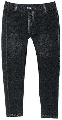 Little Girl's Stretch Fit Jeggings with Realistic Look & Texture (Black)