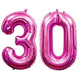 Arts & Crafts : 40 inch 30th Birthday Balloons 3 and 0 Mylar Balloon Jumbo Foil Helium Balloons for 30th Birthday Party Decorations (Pink)
