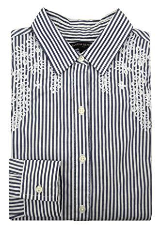 Banana Republic Women's Embellished Yoke Classic Shirt, White/Grey Stripe (S) (Banana Republic Leather)
