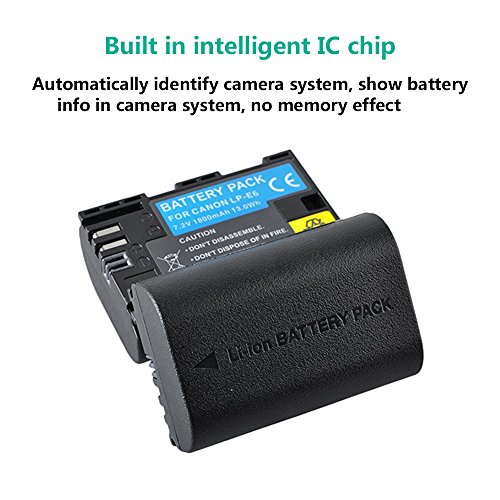 LP-E6 & LP-E6N Battery, BPS 2pcs LPE6 Rechargerable Li-on Battery for Canon  EOS 5D Mark II, 5D Mark III, 5DS, 5DS R, EOS 70D, 7D, 7D mark II, 7D mark