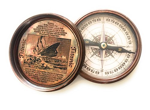 Christmas Gift Maritime Brass Antique Titanic Poem Compass (Father Christmas Poems)