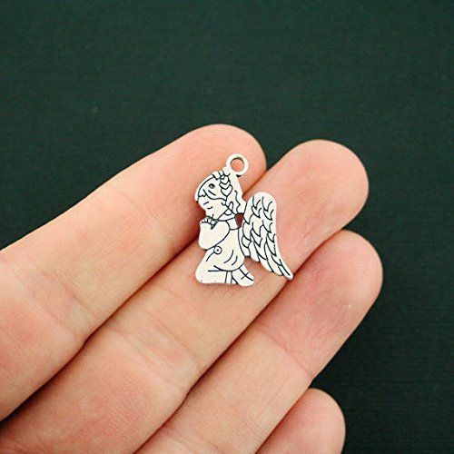 Praying Angel Charm - 8 Angel Charms Antique Silver Tone Praying for Jewelry Making Bracelet Necklace DIY Crafts