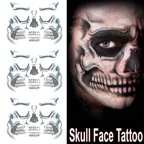 COKOHAPPY Day of the Dead Sugar Skull Black Skeleton Temporary Face Tattoo Kit - Pack of 3 Kits