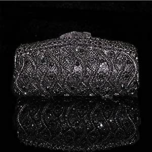 Redland Art Women's Fashion Sparkly Rhinestone Bride Mini Clutch Bag Wristlet Evening Handbag Catching Purse Bag for Wedding Party (Color : Black)