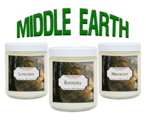 Book Candles - Middle Earth - Soy Candle Set Includes: Lothlorien, Rivendell, Mirkwood – 3 x 4 oz Natural Soy - Lord of The Rings Fan Gifts For Book Nerds