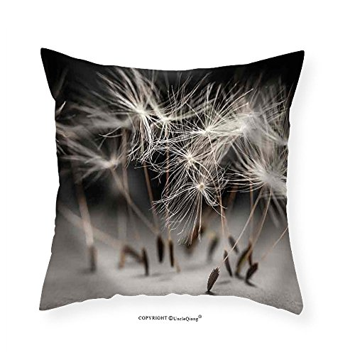VROSELV Custom Cotton Linen Pillowcase Macro Closeup of Dandelion Seeds Standing Up on Gray and Black Background - Fabric Home Decor 24