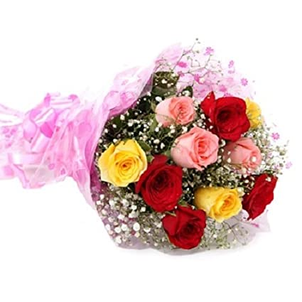 Floral Fantasy Fresh Flowers Bouquet Of 15 Mix Roses Bunch For Birthday Anniversary Friendship Day Best