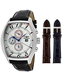 Men's Reserve Silver Textured Dial Black Genuine Leather