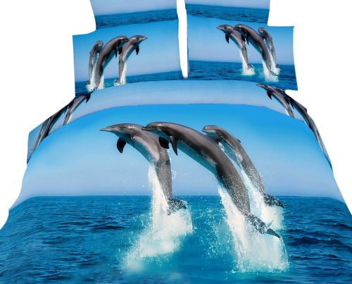 Dolce Mela DM425Q Atlantic Dolphins Queen Duvet Cover Set