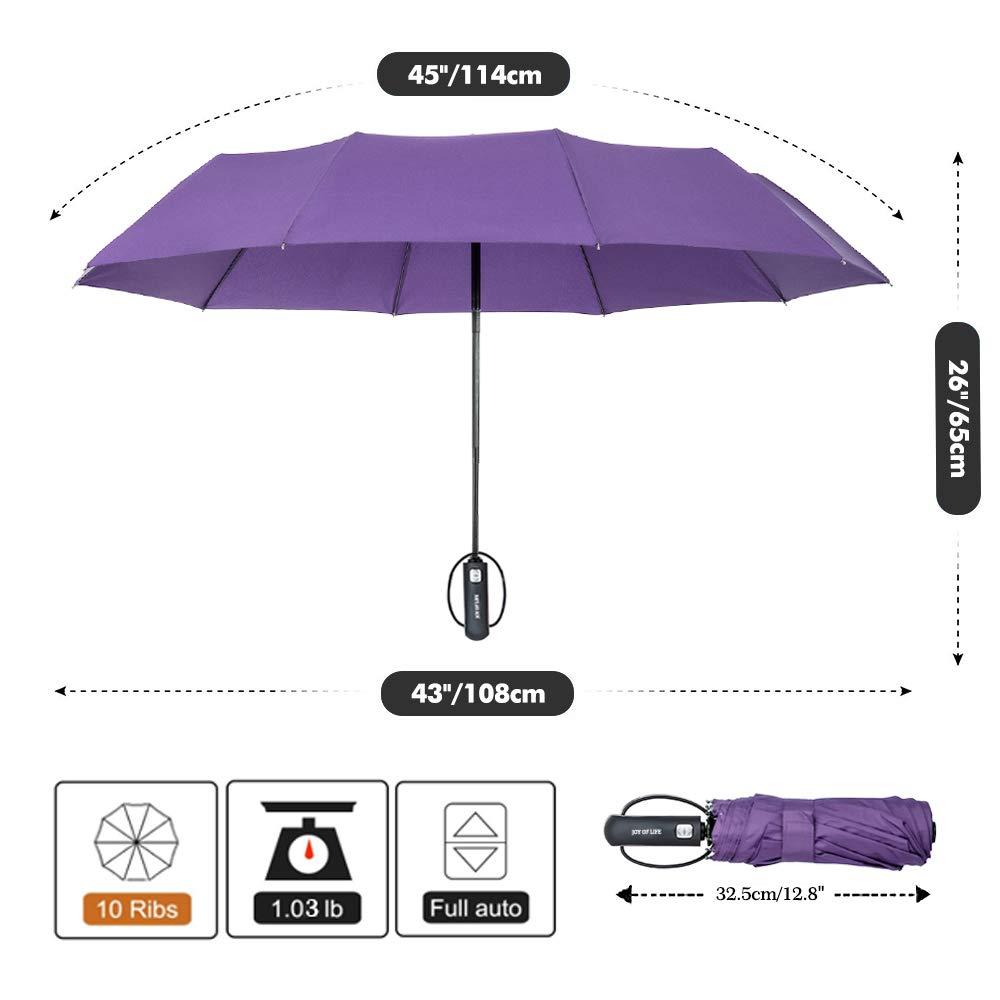 Paraguas Plegable Autom/ático con 10 Marcos Reforzados Garant/ía de por Vida ZOMAKE Tefl/ón 210t Azul Ideal para Mujeres Hombres Viaje