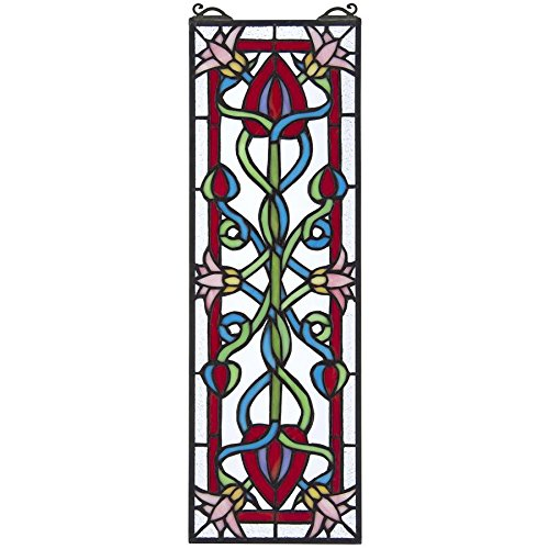Design Toscano Stained Glass Panel - Pink Dahlia Stained Glass Window Hangings - Window Treatments