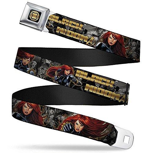 Black Widow Hourglass (Marvel Avengers Black Widow Hourglass Logo Full Color Black Gold Black Seatbelt Belt)