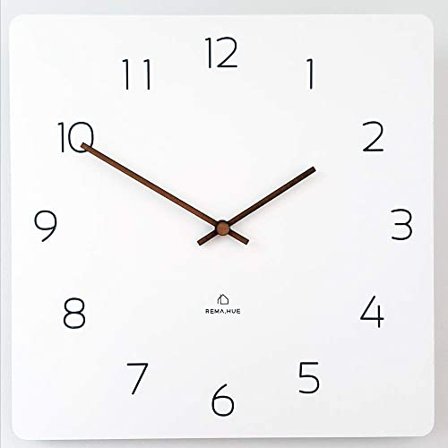 Rema House Modern Square Wall Clock Silent Non-Ticking Quartz Eco Wooden 11.4 Clock White