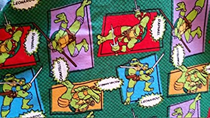 Country Snuggles Ninja Turtles names Fabric by the Yard (Fat Quarter)