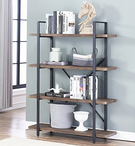 Home Office Bookshelves - O&K Furniture 4-Shelf Open Bookcase, Vintage Industrial Style Bookshelves, Brown