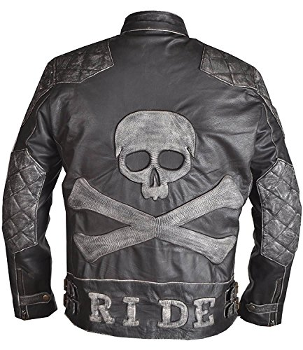 WONDERPIEL Men's Skull and Bones Leather Biker Jacket Reinforced Vintage Jackets For Motorcycle Rider - Genuine Lambskin - Black (XX (Genuine Leather Racing Jacket)