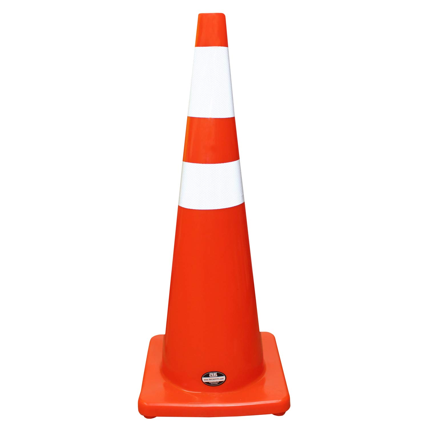 (Set of 6) RK Safety 36'' Orange Traffic PVC Cones with 6'' + 4'' Reflective Collars, Orange Base (6 Cones)
