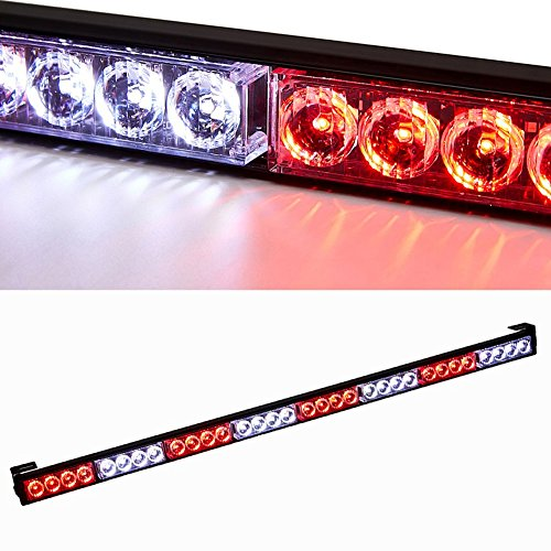 Traffic Advisor Light Bar 35.5 Inch 32 Flashing Led Strobe Light Bar Waterproof Led Warning Lights Car Vehicle Pickup Truck Head Rear Window Strobe Lights (35.5 Inch, White/Red)