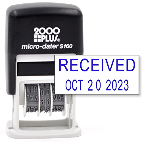 Cosco 2000 PLUS Self-Inking Rubber Date Office Stamp with RECEIVED Phrase & Date - BLUE INK (Micro-Dater 160), 12-Year (2000 Plus Daters Blue Ink)