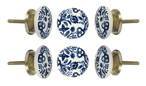 Set of 6 Ceramic Beckenham Knob Kitchen Cabinet Cupboard Door Knobs Dressser Wardrobe and Drawer Pull By (Ceramic Door)