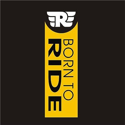 CVANU Born To Ride Logo Royal Enfield Bullet Sticker- Classic 350  Bike,Chaise,Rear,Sides,Bumper Sportive Sticker_CB01(White/Yellow)