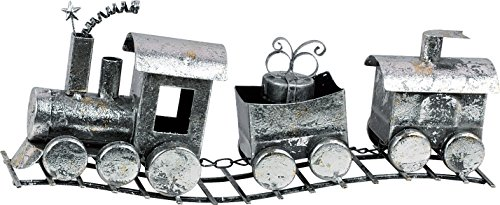 Rustic Holiday Silver Metal Train Christmas Decoration