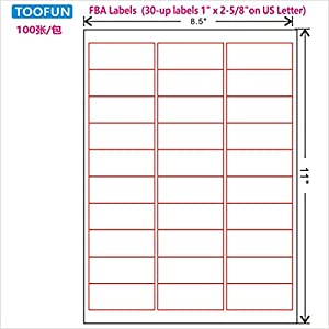 amazoncom amazon fba label 100 sheets 3000 labels 30 With 30 up labels 1x2 5 8 on us letter