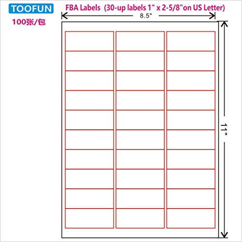 Amazon FBA Label (100 Sheets, 3000 Labels) 30-up labels 1'×2-5/8' on US Letter White Self Adhesive Shipping Mailing stickers for Laser/InkJet Printer, Meets Amazons FBA requirements- TOOFUN