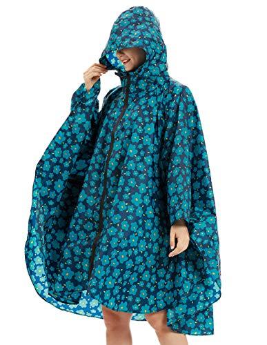 Buauty Ladies Rain Jacket Lightweight Rian Coats Blue (Ladies Rain Poncho)