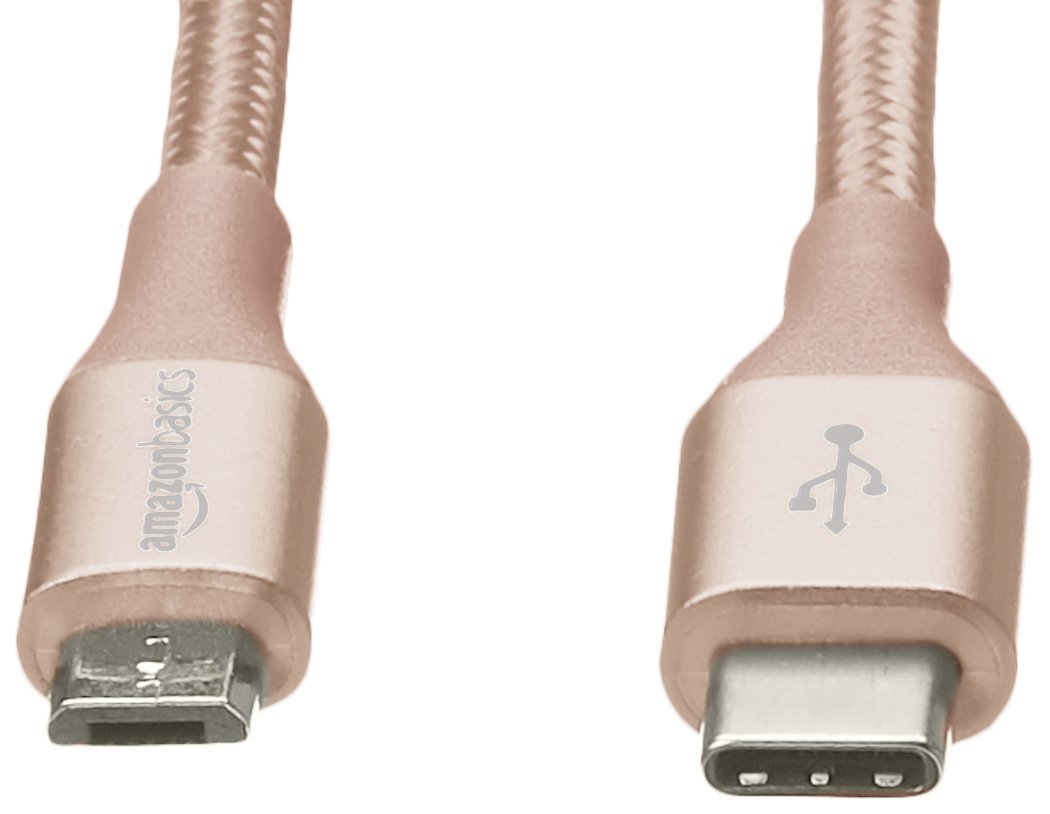 AmazonBasics Double Braided Nylon USB Type-C to Micro-B 2.0 Male Cable | 6 feet, Gold by AmazonBasics (Image #3)