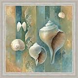 Blue Seashells Bath Room Spa Decor Ii Art Print Framed